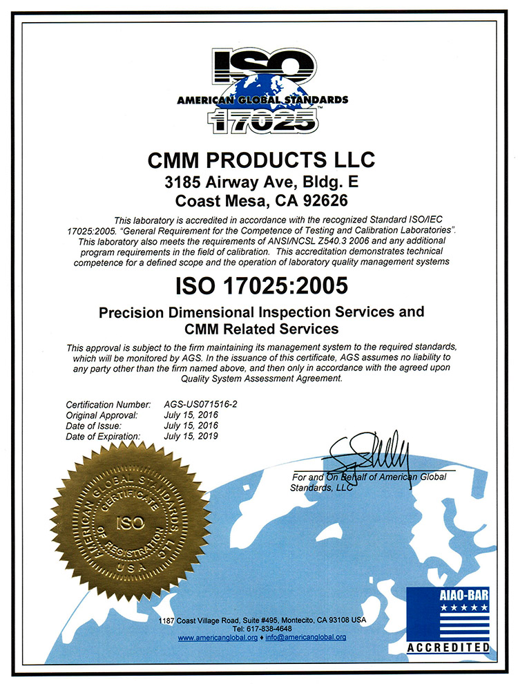 Iso Certifications Cmm Products